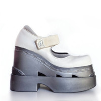90's HEX // Mega  Wedge Cyber Futuristic Mary Jane Platforms // 8 - 8.5