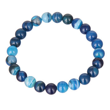 8MM Friendship Elastic Rope Charm Bracelet Striped Agate Blue Round Natural Stone Beads Bracelets for Women Men Christmas Gift