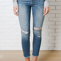 Distressed High-Rise Skinny Jeans by Sneak Peak