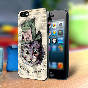 Cheshire Cat We're All Mad Here - Design on Hard Cover For iPhone 4/4s Case or iPhone 5 Case - Black Or White (Option)