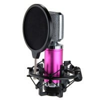 New Wired Condenser Microphone Mic Recording PC Laptop Karaoke Fushcia - Default