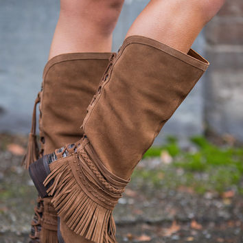 Tassel Takeover Suede Fringe Lace Up Boots (Tan)