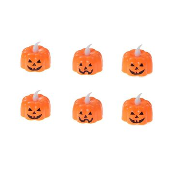 6PCS Pumpkin Light Electronic Battery-operated Flameless Flickering LED Pumpkin Light Flameless Candles for Halloween Party Home