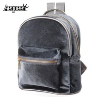 DCCK7G2 AEQUEEN Fashion Women Backpacks School Bags Cute Velvet Casual Retro Backpack Flannel Mochila Zipper Small Sack Bags 4 Colors