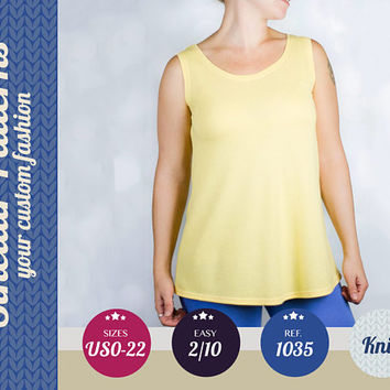 Shell top for women easy pdf sewing pattern with step by step sewing tutorial (easy/beginners) XS-XXL plus size