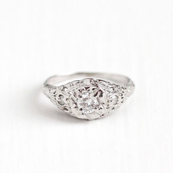 Antique 18k White Gold Art Deco .39 CTW Diamond Ring - 1920s Size 6 1/4 Vintage Filigree Fine Engagement Bridal Embossed Jewelry
