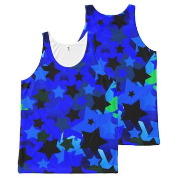Punk Rock Stars Blue All-Over-Print Tank Top