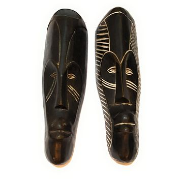 "12"" - 13"" African Gabon Cameroon Wood Fang Mask: Black"