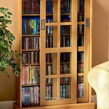 Windowpane Media Storage Cabinet 7 Shelves & Sliding Door DVD's CD's Games Maple