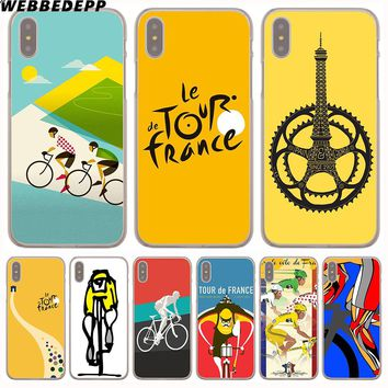 WEBBEDEPP tour de france bike Hard Transparent Cover Case for iPhone 8 Plus 7 Plus 6 6s Plus X/10 5 5S SE 5C 4 4S