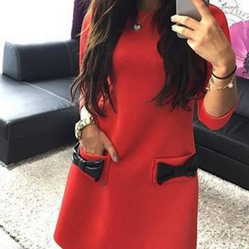 New Red Bow 3/4 Sleeve Round Neck Sweet Going out Mini Dress