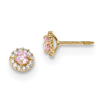 14k Yellow Gold Solid Madi K Pink & White CZ Halo Screwback Earrings