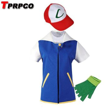 4f750a24 Cool TPRPCO Pokemon Ash Ketchum Cosplay Costume Blue Jacket + Gl