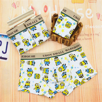 2016 New Panties Kids Boys Cute Little Minion Boy Boxer Underwear Cotton Cartoon Dot Children Underwear Boys Briefs Underwear