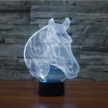 Horse Head Bust 3D LED Night Light Lamp