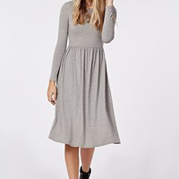 TILDA LONG SLEEVE JERSEY MIDI DRESS GREY