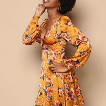 Free People Morning Light Mini Dress - Gold