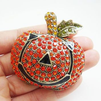 TTjewelry Small Size Vintage Pumpkin Halloween Red Austrian Crystal Gold Tone Brooch Pin