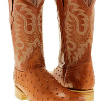 Men's Cowboy Boots Ostrich Quill Cognac Brown Leather Western Rodeo Square Toe