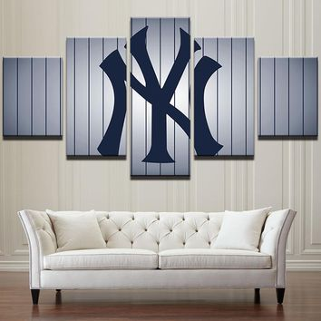 New York Yankees Pin Stripes Large Framed Canvas