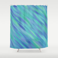 "Shower Curtain - Illusions in Blue and Turquoise - 71"" by 74"" Home Decor, Bathroom, Bath, Dorm Decor, Girl Decor"
