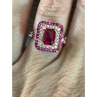 14K Rose Gold 2CT Emerald Cut Russian Lab Diamond Red Ruby Halo Engagement Ring