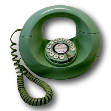 Retro Sculptura Donut Phone Push Button Rotary Style Vintage Green