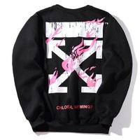 Hoodies Stripes Pink Print Round-neck Jacket [11218584007]