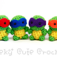 Tiny Teenage Mutant Ninja Turtles Amigurumi  by GeekyCuteCrochet