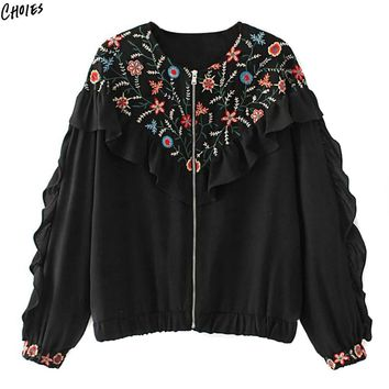 Black Ruffle Trim Floral Embroidered Bomber Jacket Women O Neck Zipper Up Elastic Cuffs Spring Fall New Coat