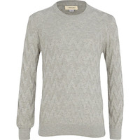 River Island Boys grey zig zag sweater