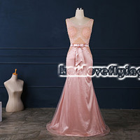 Sexy backless long floor length pink prom dresses,long party dress see-through top,elegant formal dress,long evening dress,bridesmaid dress