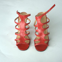 1980's red gladiator strap sandals with curved heel, 3 inch heel leather strappy shoes, US 5, Giam Cotti