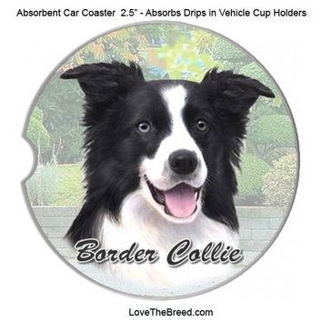 Border Collie Absorbent Car Coaster