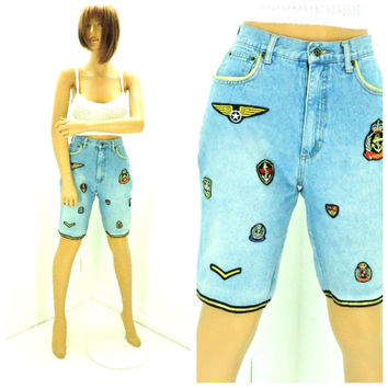80s high waisted denim shorts size 6 / 7, nautical military jean shorts, retro high waist long shorts, SunnyBohoVintage