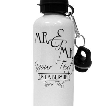 Personalized Mr and Mr -Name- Established -Date- Design Aluminum 600ml Water Bottle