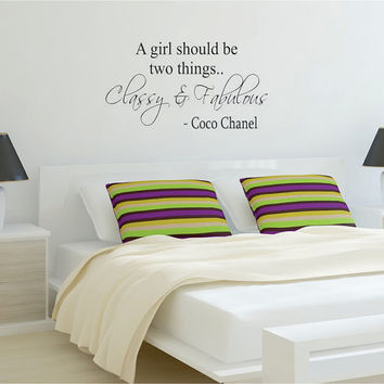 Classy and Fabulous Coco Chanel Quote Decal Sticker Wall Vinyl Decor Art