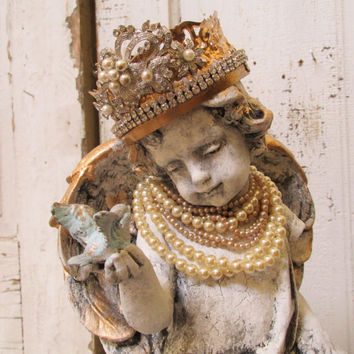 Angel cherub statue wearing pearls shabby chic handmade crown French Nordic inspired home decor anita spero