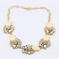 Chunky Crystal Necklace with Beige Stones