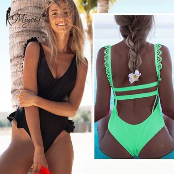 Miyouj High Cut Swimsuit Women Swimwear Brazilian Bikini Thong Biquinis Feminino 2019 Monokini Mujer Suit Bath One-piece suits