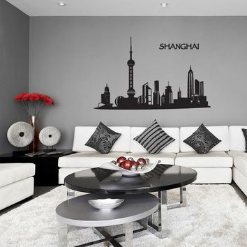 Shanghai Skyline Wall Decal