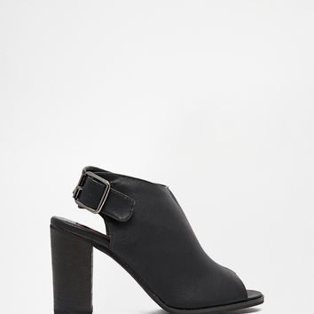 London Rebel Mule Sling Back Heeled Sandal
