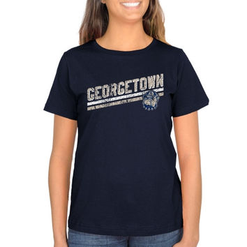 Georgetown Hoyas Ladies Rising Bar Primary Classic Fit T-Shirt - Navy Blue