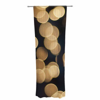 "Cristina Mitchell ""Blurred Lights"" Black Gold Decorative Sheer Curtain"