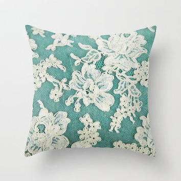 Throw Pillows With Lace : white lace - photo of vintage white lace from Society6 pillows