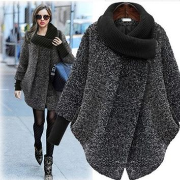 new winter jacket women large size female coat 2 color high collar solid color coat long loose long sleeve wool coat AL9414