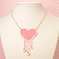 Pink Heart Necklace Pastel Goth Dripping Melting