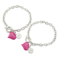 Childrens Bestfriends Bracelet with gorgeous pink hearts and t-bar. 2 Friendship bracelet's includes 2 gift bag