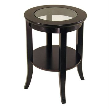 Genoa Round Wooden End Table with Glass Top and Shelf by Winsome Woods