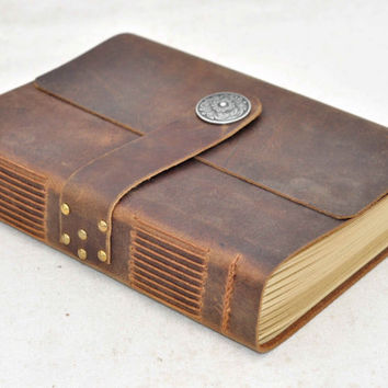 Personalized custom Leather blank kraft paper Journal sketchbook A5 size (free Initials )